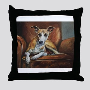 Whippet on Chair Throw Pillow