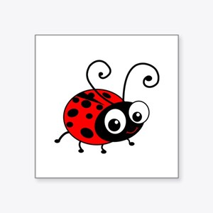 "Cute Ladybug Square Sticker 3"" x 3"""