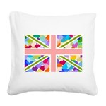 Heart filled Union Jack Flag Square Canvas Pillow