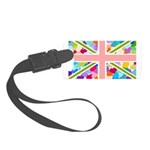 Heart filled Union Jack Flag Small Luggage Tag