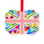 Heart filled Union Jack Flag Picture Ornament