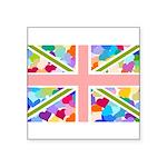 Heart filled Union Jack Flag Square Sticker 3