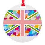 Heart filled Union Jack Flag Round Ornament