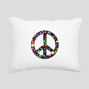 Hippie Flowery Peace Sign Rectangular Canvas Pillo