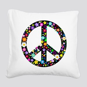Hippie Flowery Peace Sign Square Canvas Pillow