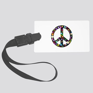 Hippie Flowery Peace Sign Large Luggage Tag