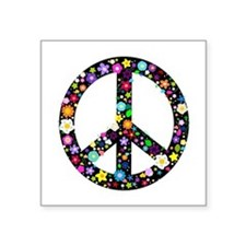 Hippie Flowery Peace Sign Square Sticker 3
