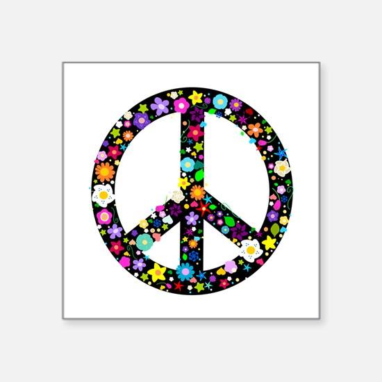 """Hippie Flowery Peace Sign Square Sticker 3"""" x 3"""""""
