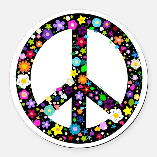 Hippie Flowery Peace Sign Round Car Magnet