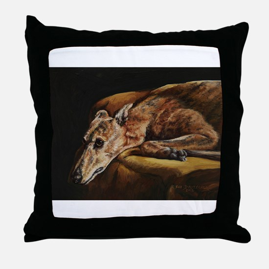 Greyhound Resting Throw Pillow