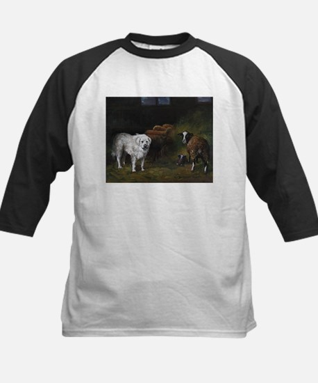 Great Pyrenees with Sheep Kids Baseball Jersey