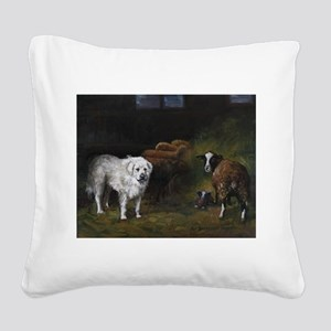 Great Pyrenees with Sheep Square Canvas Pillow