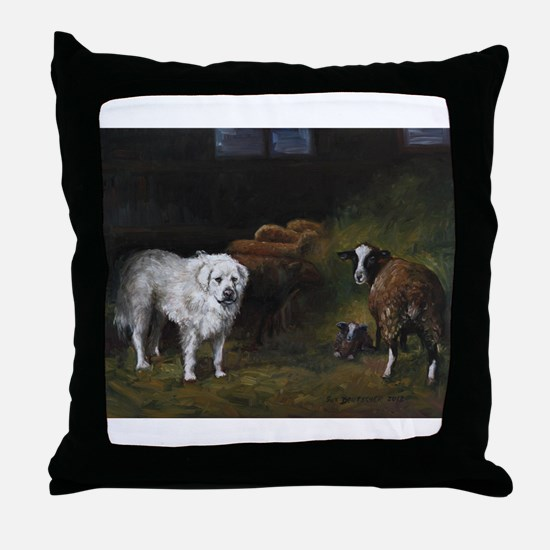 Great Pyrenees with Sheep Throw Pillow