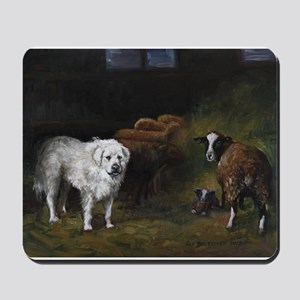 Great Pyrenees with Sheep Mousepad