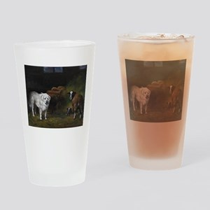 Great Pyrenees with Sheep Drinking Glass