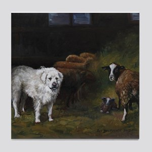 Great Pyrenees with Sheep Tile Coaster