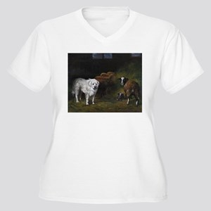 Great Pyrenees with Sheep Women's Plus Size V-Neck