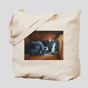 Whippet on Chair Tote Bag