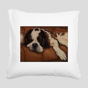 Saint Bernard Sleeping Square Canvas Pillow