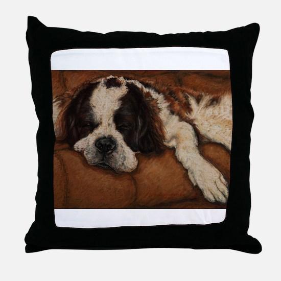 Saint Bernard Sleeping Throw Pillow
