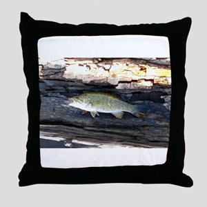 Woody Smallmouth Bass Throw Pillow