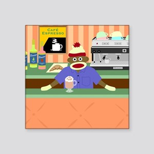 "Sock Monkey Coffee Shop Square Sticker 3"" x 3"""