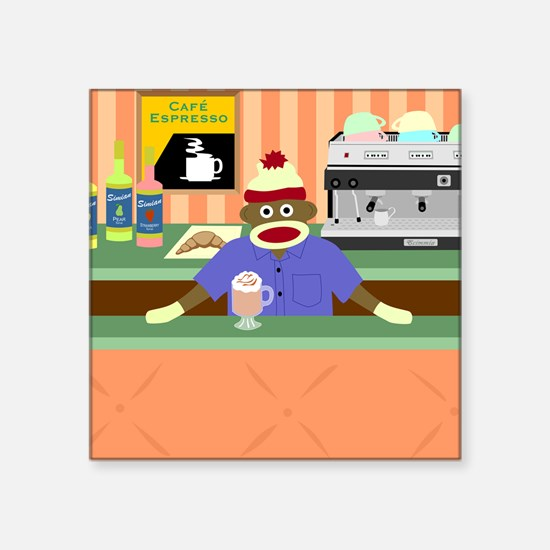 "Sock Monkey Coffee Shop Square Sticker 3"" x 3"""