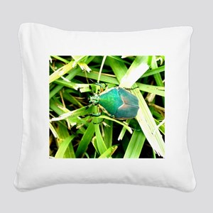 Green Beetle on Green Grass Closeup Square Canvas