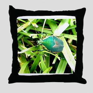 Green Beetle on Green Grass Closeup Throw Pillow