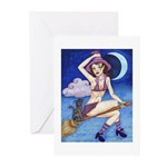Witch on Broom Greeting Cards (Pk of 10)