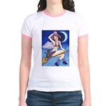 Witch on Broom Jr. Ringer T-Shirt