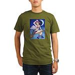 Witch on Broom Organic Men's T-Shirt (dark)