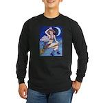 Witch on Broom Long Sleeve Dark T-Shirt