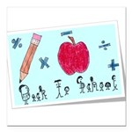 Back To School Square Car Magnet 3
