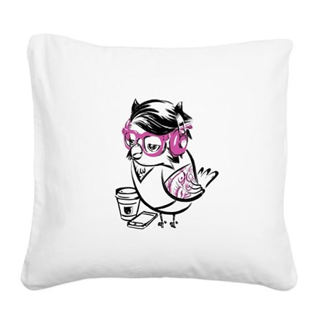 Hipster Owl Square Canvas Pillow