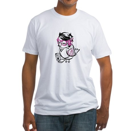 Hipster Owl Fitted T-Shirt