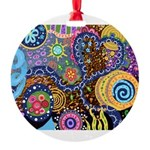 Abstract Colorful Tribal art Celebration Round Orn