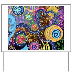 Abstract Colorful Tribal art Celebration Yard Sign