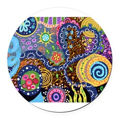Abstract Colorful Tribal art Celebration Round Car