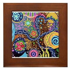 Abstract Colorful Tribal art Celebration Framed Ti