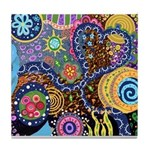 Abstract Colorful Tribal art Celebration Tile Coas
