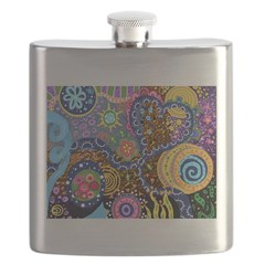 Abstract Colorful Tribal art Celebration Flask