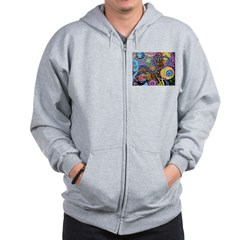 Abstract Colorful Tribal art Celebration Zip Hoodie