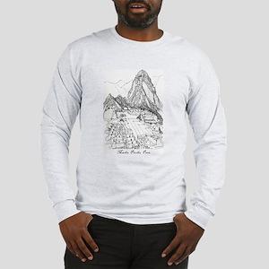 Machu Picchu Sketch Long Sleeve T-Shirt