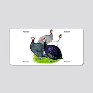 Four Guineafowl Aluminum License Plate