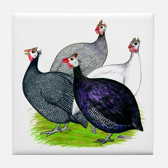 Four Guineafowl Tile Coaster