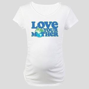 LoveYourMotherRetro70sWhtTee Maternity T-Shirt