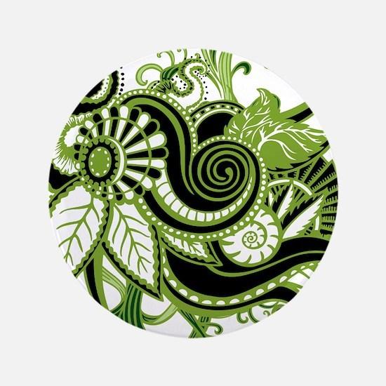 "OYOOS Green Flower design 3.5"" Button"