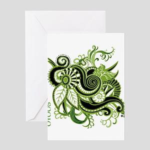 OYOOS Green Flower design Greeting Card