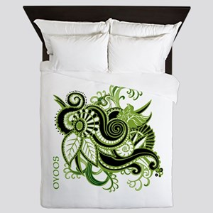 OYOOS Green Flower design Queen Duvet
